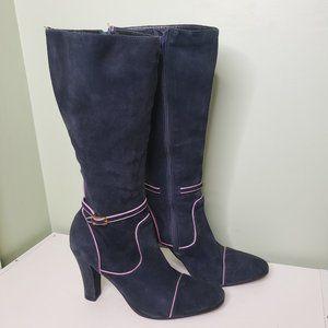 BCBGMAXAZRIA Tall Navy Genuine Suede Heeled Boots